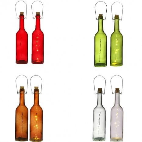 Bottiglia luminosa rossa verde rame trasparente con led in vetro con manico set2 decorazioni addobbo casa (