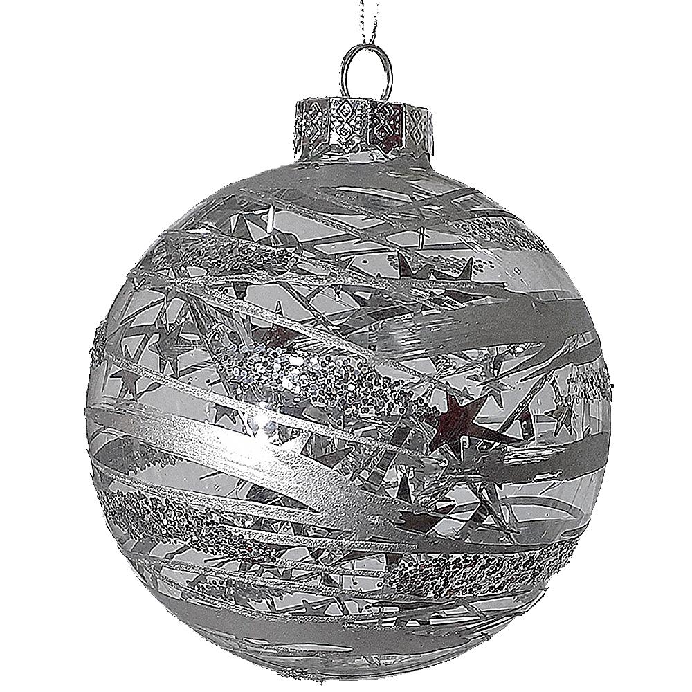 Addobbi Natalizi Vetro.Palline Argento In Vetro Soffiato 4pz Per Albero Di Natale Addobbi Decorazioni N Ebay